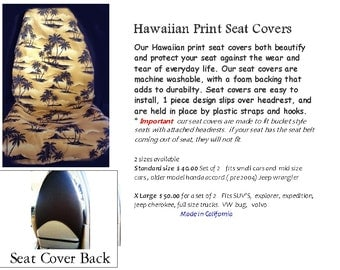 Auto Seat Covers Hawaiian print Moonlight Palms Tan