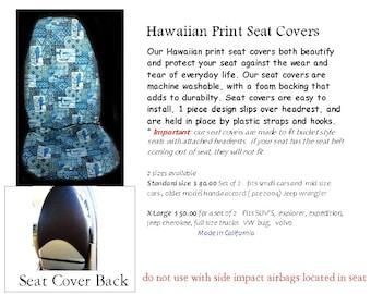 Hawaiian Print Auto Seat Covers Tapa Honu Blue