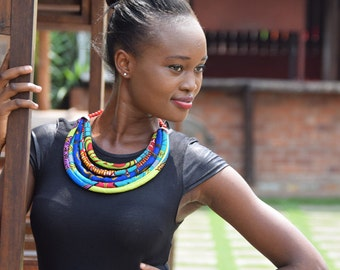 Yago African Print Necklace, African Multi Strand Necklace, African Print Necklace, Ankara Necklace, African Jewelry