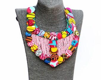 Kekeli Necklace, Beaded Necklace, African Print Necklace, Ankara Necklace, African Jewelry, For her