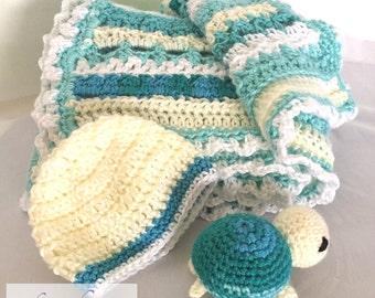 Baby Turtle Blanket and Hat Set / Handmade Crochet / White / Yellow / Aqua / Baby Gift / Stuffed Animal / Hat