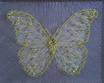 Butterfly String Art  // Nails and Thread // Framed // With Glass // 28cm x 23cm // Free Postage