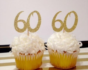 60th Birthday Cupcake Toppers / Milestone / Custom Cupcake Toppers in Sparkling Glitter