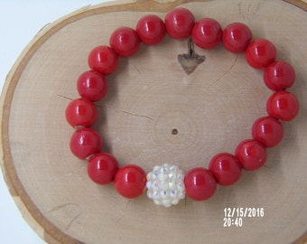 B1256 Red Ceramic Beaded Bracelet with Crystal connector.