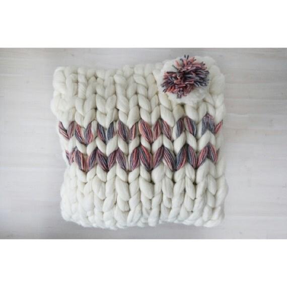 Chunky Knit Pillowcase, Merino Wool Pillowcase for a Square 40x40cm Pillow, White Decorative Pillowcase, Boho Style Home Decor