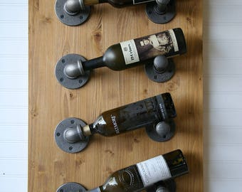 4-Bottle Industrial Rustic Pipe & Wood Wall Wine Rack