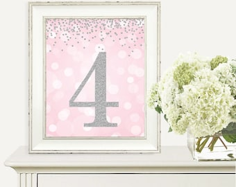 Printable Party Decorations, 4th Birthday Party Sign, Number 4, 4th Birthday Party, Fourth Birthday, Pink and Silver Glitter, Digital Print