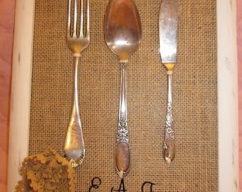 Farm House Vintage Silverware on Burlap