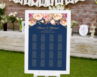 Wedding Seating Chart Template, Boho Chic Floral Wedding Table Plan, #A011, INSTANT DOWNLOAD with EDITABLE text - you personalize at home