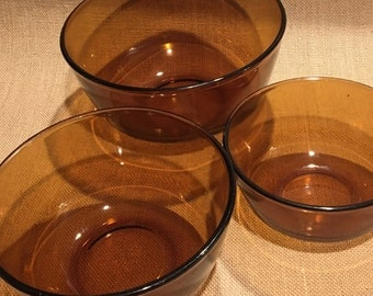 Anchor Hocking Fire King Ovenproof Nesting Bowls Clear Brown.