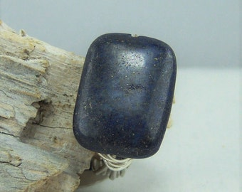 R404, Lapis Stone Wire Wrapped Ring