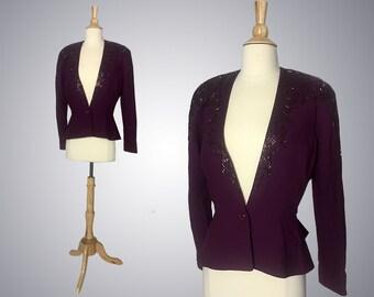 Vintage Deep Plum Blazer, Sequin details, Wool, Size Medium