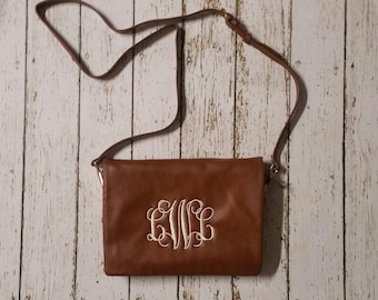 Monogrammed Cross Body Purse embroidered initials