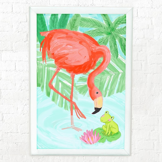 Pink flamingo and frog, nursery decor, art for kids room, childrens decor, kids room art, kids wall art, flamingo art for kids, frog art