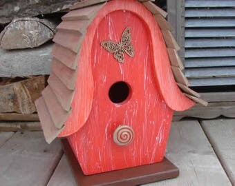 Butterfly Red Bird House, birdhouse, painted birdhouse, wood birdhouse