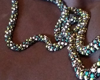 Hand-beaded Multi-Greens colored Necklace - Multiple Ways to Wear