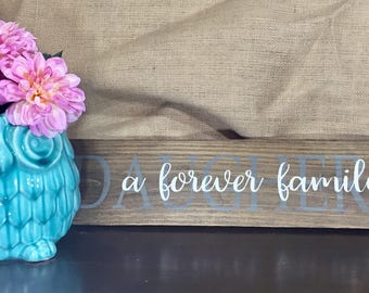 Rustic 'A Forever Family' with Family Surname Sign