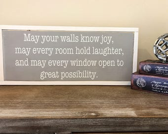 May Your Walls Know Joy | Entryway Sign | Wedding Gift | Housewarming Gift | Kitchen Sign