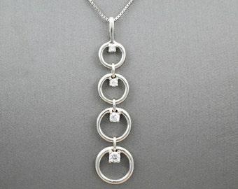 Diamond Necklace, Diamond Pendant, White Gold Diamond Necklace, Drop Diamond Pendant, Diamond Jewelry