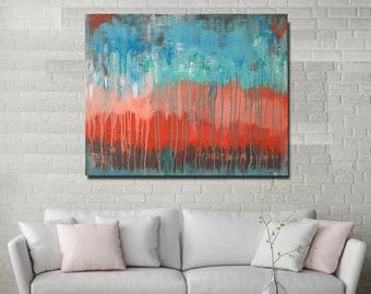 PRINT Turquoise blue teal coral abstract contemporary acrylic canvas painting art modern home interior decor Shweta Patil Free shipping USA