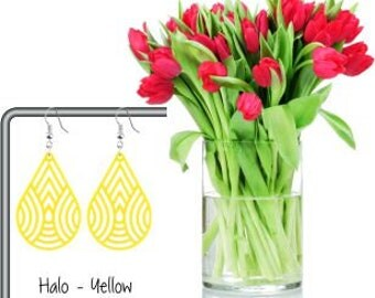 Halo - Yellow Acrylic Drop Earrings (Laser Cut)