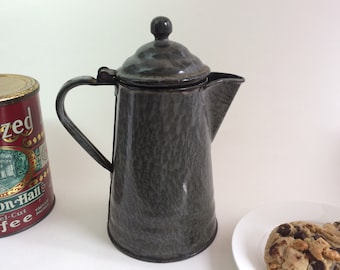 Vintage Graniteware Coffee Pot Gray-Speckled Early 1900s Antique Coffee Pot  Gray Enamelware Farmhouse Decor