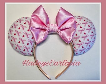 Pink Ribbon Ears, Survivor Mouse Ears, Breast Cancer Awareness Mouse Ears, ready to ship