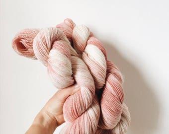 100g Hand Dyed sock yarn, Organic Merino sock weight yarn, variegated sock yarn, space dyed sock yarn, dusky pink.