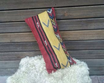 """TURKISH KILIM PILLOW..vintage  cover, old kilim, village made, handmade, 23""""x12"""", 58x30cms, quality backing and zip, free shipping!!"""