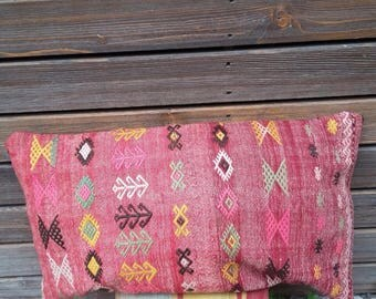 "TURKISH KILIM PILLOW..vintage kilim cover, cecim embroidery, floor cushion, handmade, quality stitching 28""x16"", 71x40cms, free shipping!!"