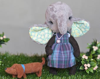 Teddy bear style Teddy elephant Lilac elephant Stuffed elephant toy Artist plush elephant with removable clothes Soft toy elephant