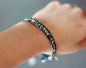 Teal Single Wrap Handmade Leather Wrap Bracelet