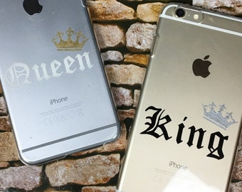 King and Queen with crown hard transparent cover case for iPhone and Samsung Galaxy