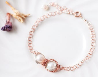 Wire Wrapped Infinity Pearl  Bracelet in Rose Gold & Sterling Silver, Freshwater White Pearl Bracelet, June Birthstone Jewelry, Woman Gift