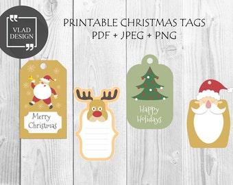 Printable Christmas Tags Christmas Gift Tags Christmas labels Instant download DIY Santa Tags Holiday tags New Year tags