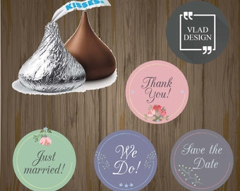 4 Designs Wedding Hershey's Kisses Sticker Labels .75'' Round Wedding round label Favors label Sweets label Floral Hershey's Kisses Sticker