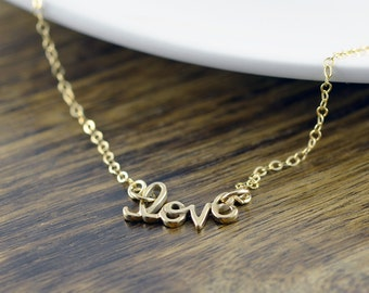 gold love necklace, love script necklace, bridesmaid jewelry, valentines day, mothers day, gift idea, gift for wife