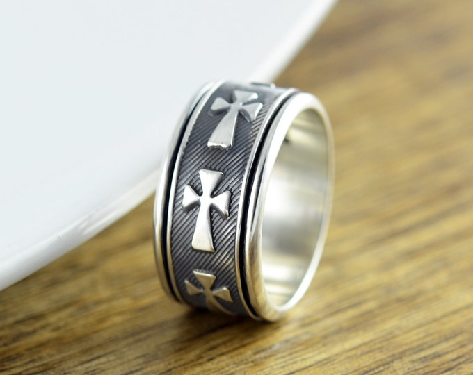 Sterling Silver Cross Band Ring - Cigar Band Ring - Mens Cross Ring - Statement Ring - Mens Gift - Mens Ring - Mens Spinner Ring