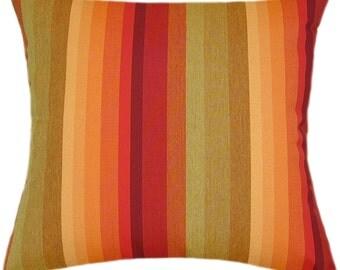 Sunbrella Astoria Sunset Indoor/Outdoor Striped Pillow
