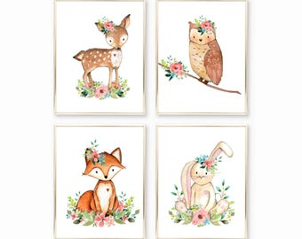 Digital Nursery Prints. Instant Download Nursery Art. Baby Girl Pictures. Baby Girl Art. Watercolor Woodland Animals. Floral Watercolor Art