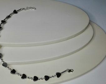 Silver bracelet, hematite bracelet, handmade bracelet, beaded bracelet