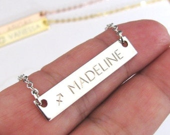 Zodiac Necklace – Hand Stamped Bar Necklace Personalized with Name and Zodiac Sign