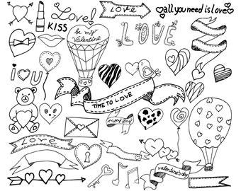 "Doodle heart clipart: ""VALENTINE'S CLIPART"" Valentine doodles Engagement cards Love clipart Digital stamp Wedding clipart valentine's day"