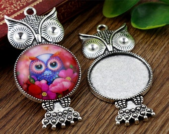 50 Pieces /Lot Antique Silver & Bronze Plated 25mm Owl cabochon trays charms
