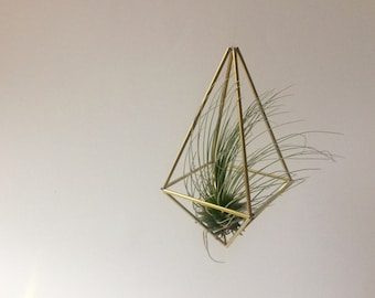 Hanging Square Prism Brass Himmeli - Medium (excludes air plant)