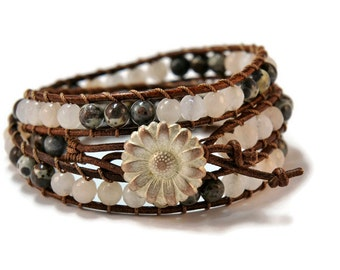 Linda * Aventurine & Brown Jasper Leather Strand Bracelet