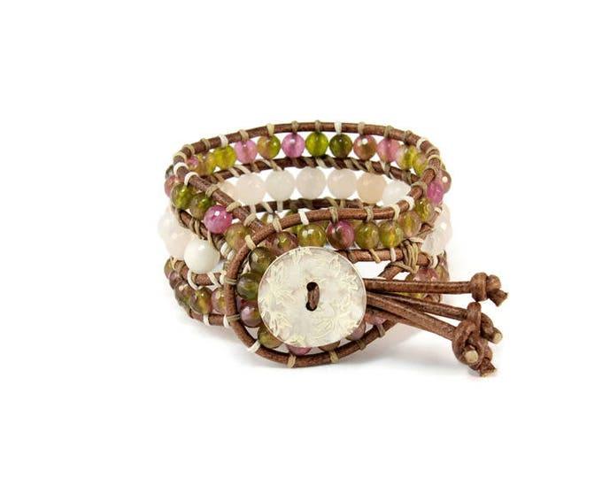 Boho Little Caramel * Crystals & Aventurine. 3 strand Wrap Bracelet. Boho Style. Bohemian Jewelry. Gift for her. Cuff Bracelet.