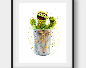 Sesame Street Art, Sesame Street Print, Oscar the Grouch, Oscar the Grouch Art, Oscar the Grouch Decor, Oscar the Grouch Poster, Kids Art