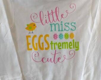Little Miss EGGStremely Cute/ Baby Girl Easter Onesie/ Girl Easter Shirt/ EGGstremely Cute
