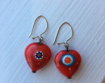 Vintage Milifiori Red Heart Earrings